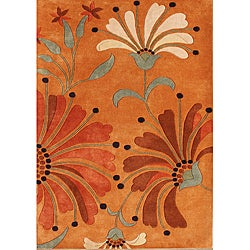 Alliyah Handmade Rust New Zealand Blend Wool Rug (10' x 12')