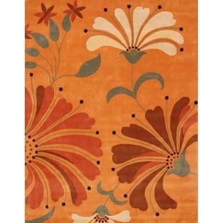 Alliyah Handmade Rust New Zealand Blend Wool Rug (10' x 12')