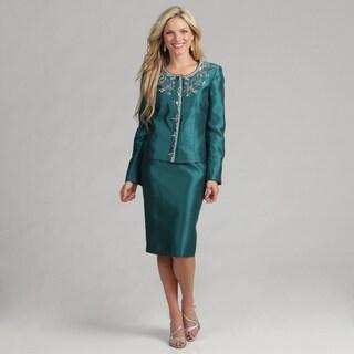 Kasper Women's Emerald Embroidered Skirt Suit