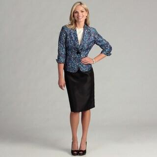 Le Suit Women's Black Multi 1-button Skirt Suit