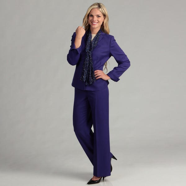 Le Suit Women's Purple Passion Twill Pant Suit - Free Shipping