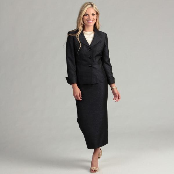 Le Suit Women's Black/ Orchid Skirt Suit