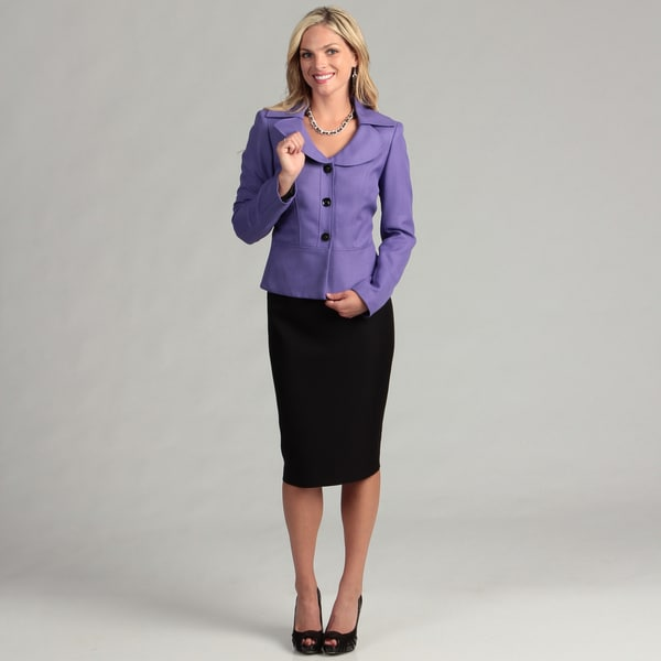 Le Suit Women's Wild Orchid/ Black Skirt Suit