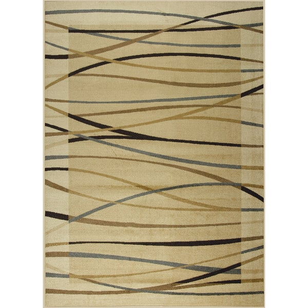 Somette Organized Chaos Woven Beige Rug (5' x 7')