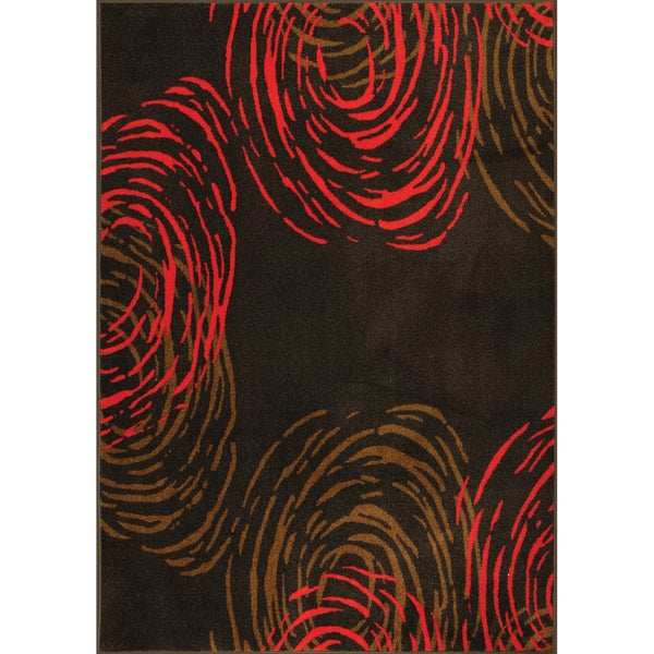 Somette Perpetual Motio Woven Red Rug (5' x 7')