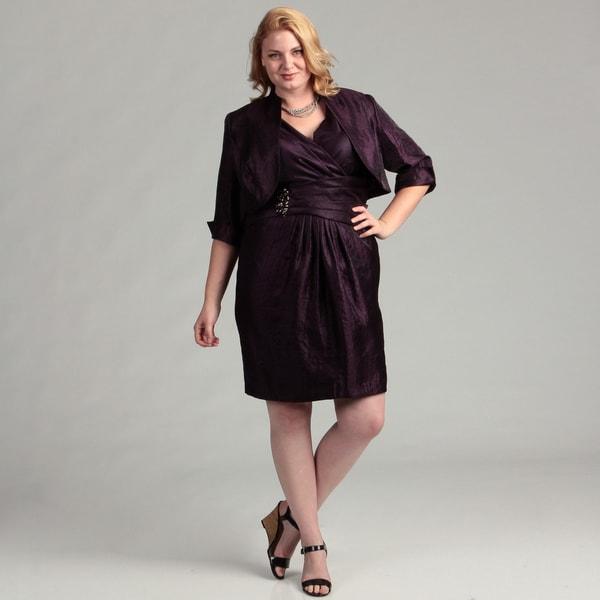 Jessica Howard Women's Plus 2-piece Bolero Jacket Dress