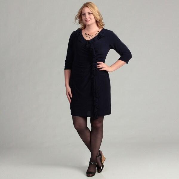 Jessica Howard Women's Plus Cascade Ruffle Navy Blue Sheath Dress