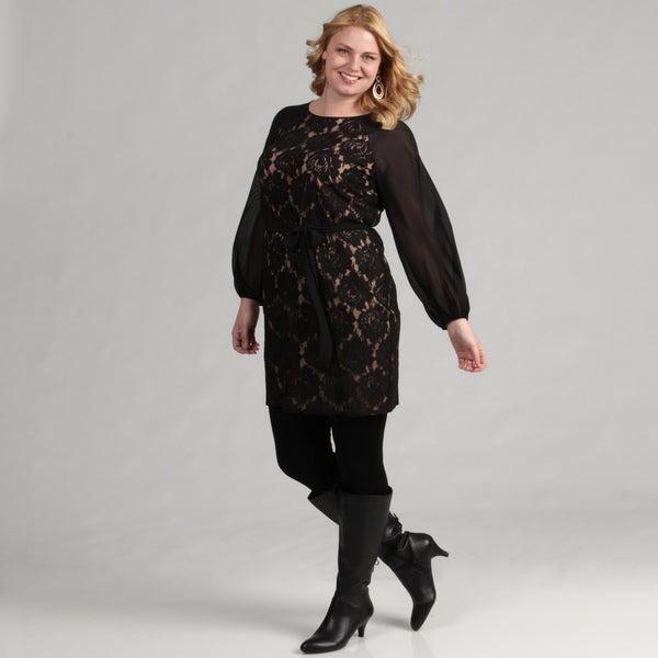 Jessica Howard Women's Plus Size Black Dress