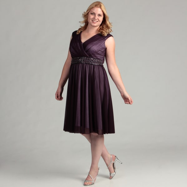 Jessica Howard Women's Plus Ruched Shirred Skirt Beaded Dress