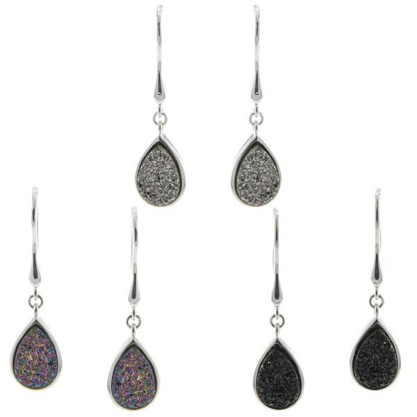 Pearlz Ocean Pear-cut Druzy Dangle Earrings