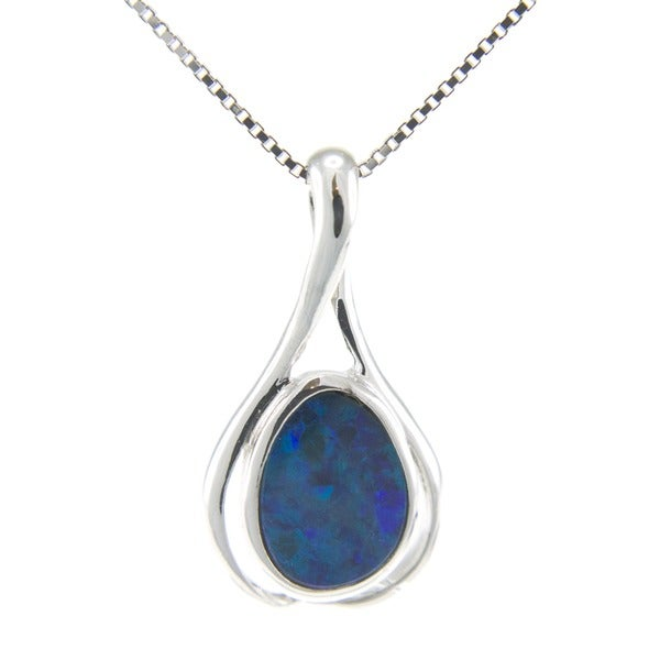 Pearlz Ocean Sterling Silver Bezel-set Fancy-cut Boulder Opal Necklace