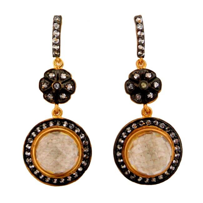 Goldplated Sterling Silver White Topaz Dangle Earrings
