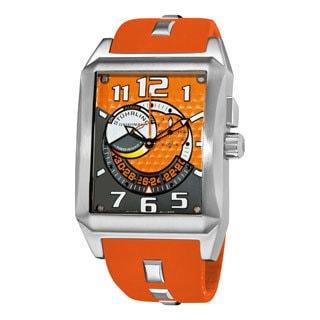 Stuhrling Original Men's Mad Man Complex Orange Rubber Strap Swiss Quartz Alarm Watch