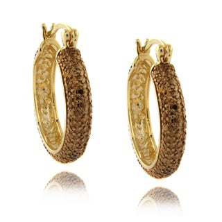 Finesque 14k Gold Overlay Brown Diamond Accent Pave Hoop Earrings