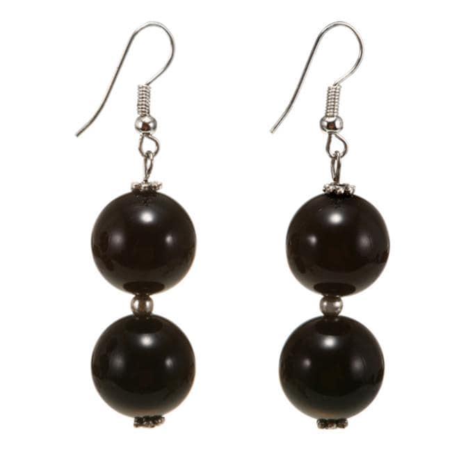 Black Agate Earrings (Thailand)