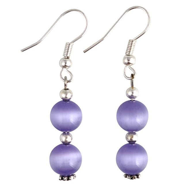 Purple / White Fusion Glass Earrings (Thailand)