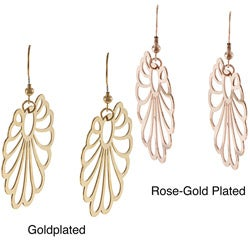 La Preciosa Goldplated Stainless Steel Openwork Fan Design Earrings