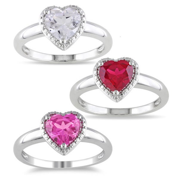 Miadora Sterling Silver Heart-shaped Created Gemstone Ring