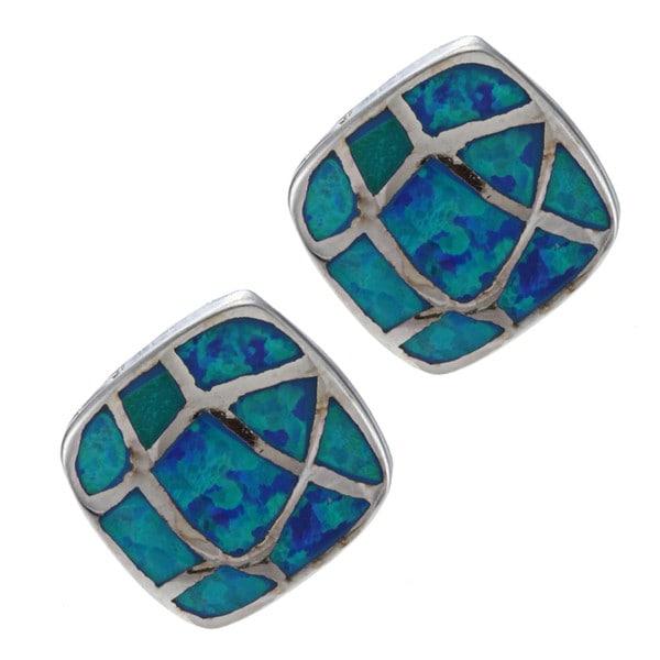 La Preciosa Sterling Silver Heart Inscription Blue Opal Earrings