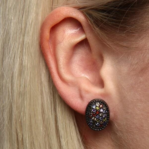 La Preciosa Sterling Silver Black Rhodium and Multi Colored CZ Oval Earrings