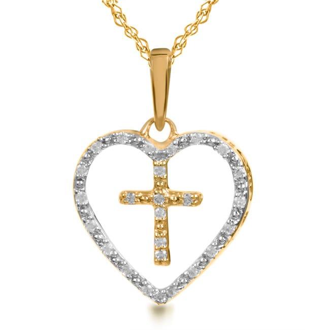 Bridal Symphony 14k Gold 1/10ct TDW Diamond Cross in Heart Necklace (I-J, I2-I3)