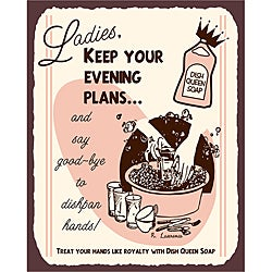 Dish Queen Soap Vintage Metal Kitchen Art