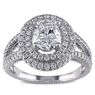 Miadora Signature Collection 14k White Gold 1 3/4ct TDW Certified Diamond Oval Ring (D, SI2, GIA)