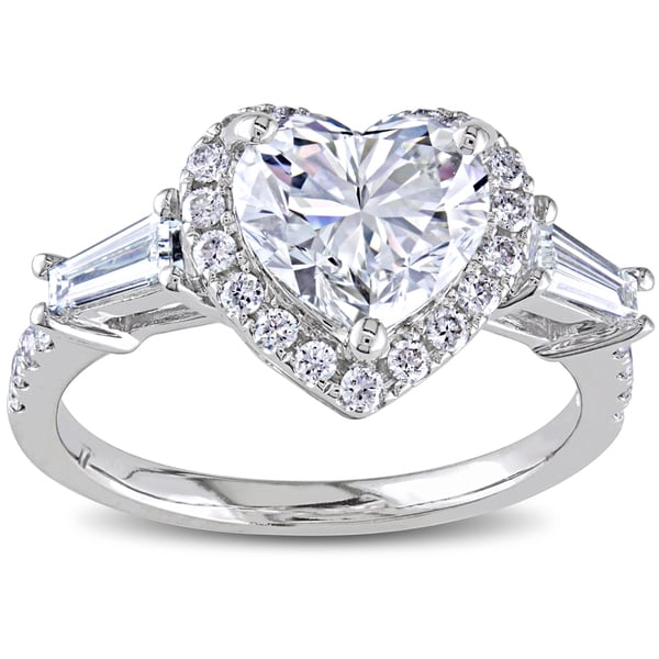 Miadora Signature Collection 14k White Gold 2 1/4ct TDW Certified Heart Diamond Ring