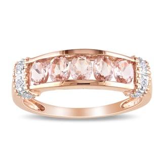 Miadora 10k Pink Gold 3/4ct TGW Morganite and Diamond Accent Ring