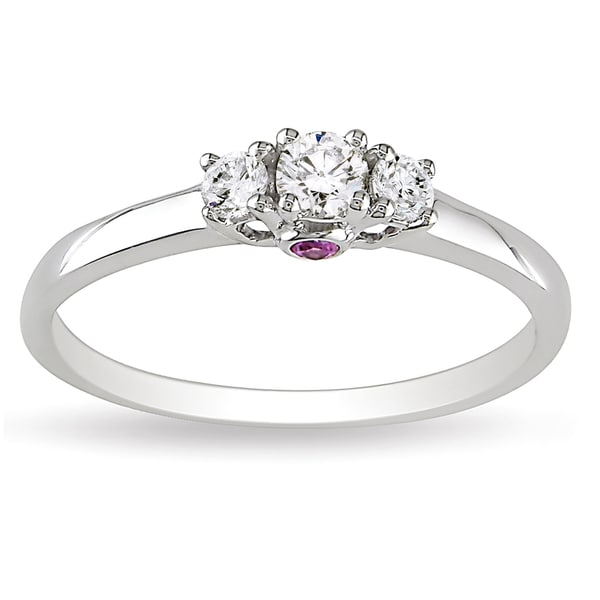 L'Amour Enrose by Miadora 14k Gold 1/4ct TDW 3-Stone Diamond and Pink Sapphire Ring (H-I, I2-I3)