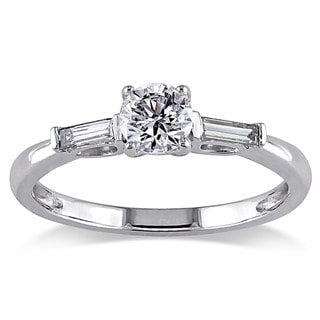 Miadora 14k White Gold 1/2ct TDW Diamond 3-stone Ring