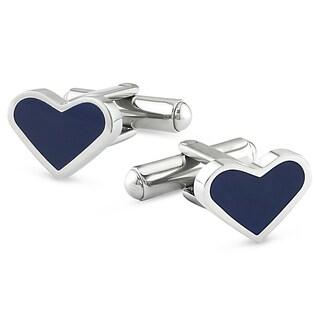 Miadora Stainless Steel Blue Enamel Heart Cuff Links