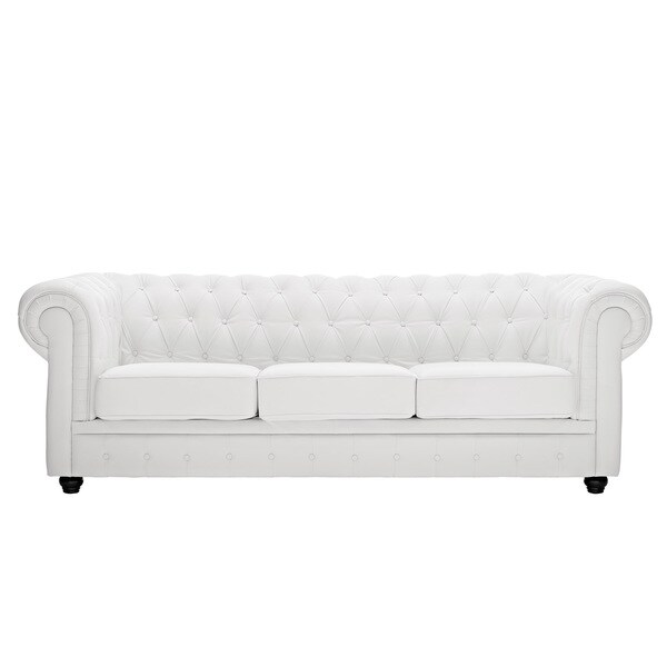 Shop White Leather Chesterfield Sofa Free Shipping Today