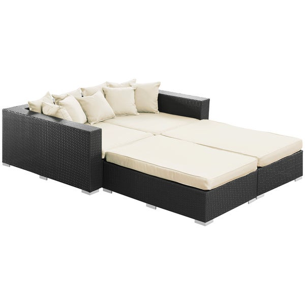 Palisades Espresso with White Cushions Outdoor Rattan 4-piece Set