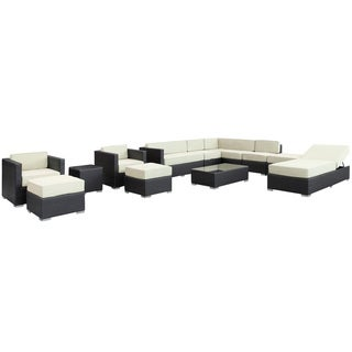 Fusion Outdoor Rattan 12-piece Set in Espresso with White Cushions