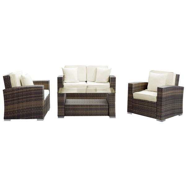 Carmel Outdoor Brown with White Pillows Rattan 5-piece Set