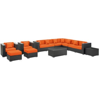 Cohesion Outdoor Rattan 11-piece Set in Espresso with Orange Cushions