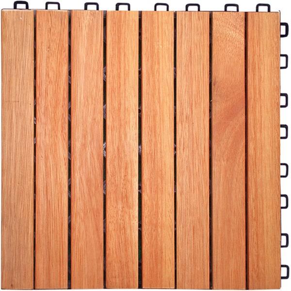 Interlocking 8-slat Design Eucalyptus Deck Tile (Box of 10)