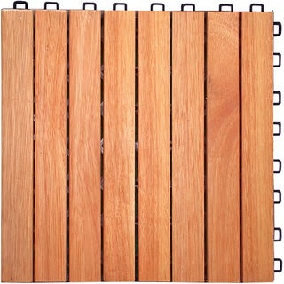 Interlocking 8-slat Design Eucalyptus Deck Tile (Box of 10)