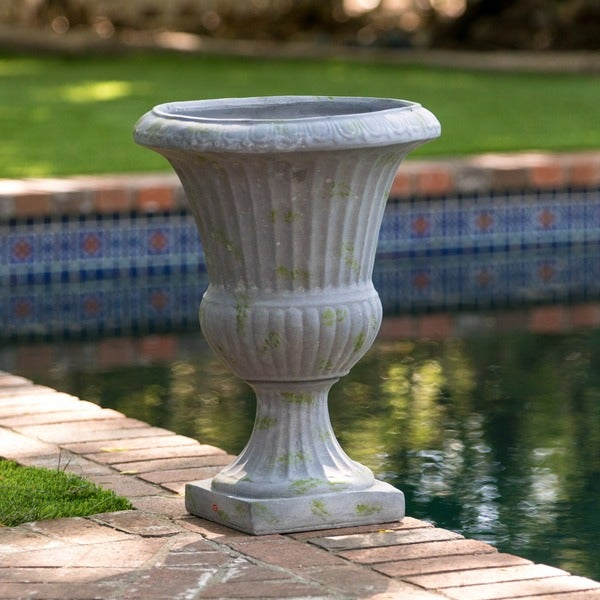 Ulysses 22.5-inch Grey with Green Moss Urn Planter by Christopher Knight Home