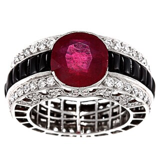 Pre-owned Platinum Ruby, Onyx and 3ct TDW Diamond Estate Ring (I-J, SI1-SI2)