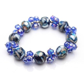 Bleek2Sheek Cobalt Blue Mother of Pearl Crushed Mosaic Marble and Crystal Glass Stretch Bracelet