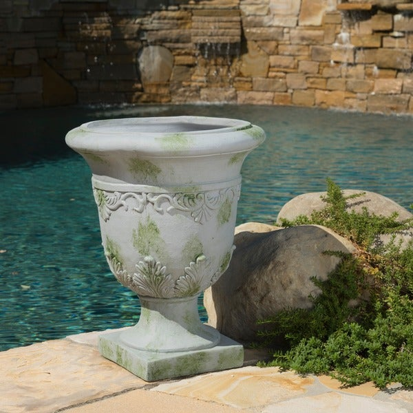 Moroccan 20-inch Grey with Green Moss Urn Planter by Christopher Knight Home