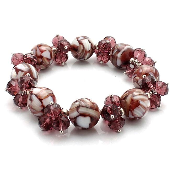 Burgundy Mosaic Marble and Crystal Cluster Bracelet