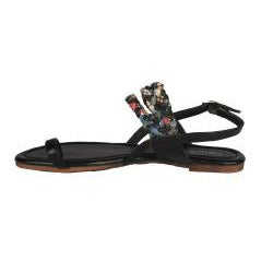 Neway by Beston Women's 'Halona' Black Toe-loop Sandals
