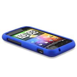 INSTEN Dark Blue Rubber Coated Phone Case Cover for HTC Droid Incredible S - Thumbnail 2