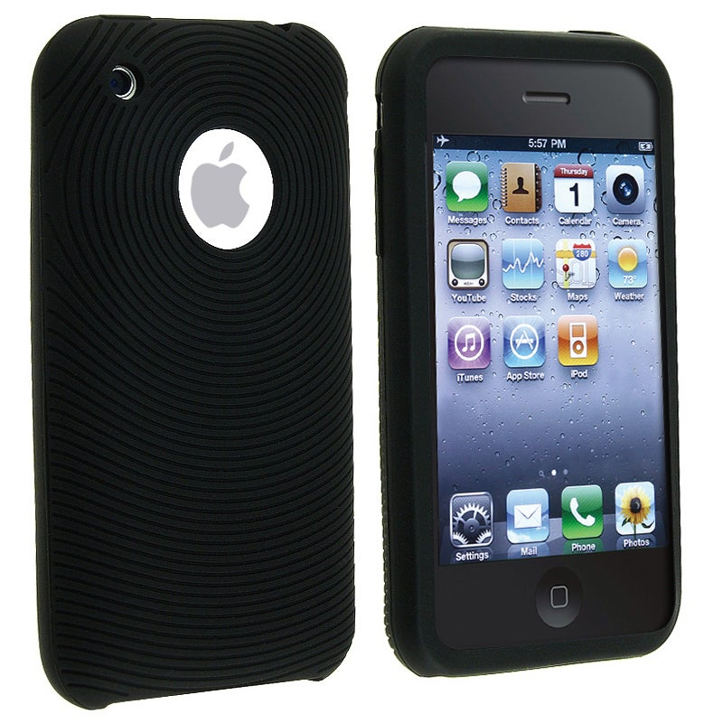INSTEN Black Textured Soft Silicone Skin Phone Case Cover for Apple iPhone 3G/ 3GS