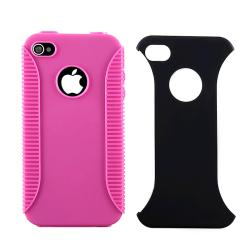BasAcc Hot Pink TPU/ Black Plastic Hybrid Case for Apple iPhone 4 AT&T