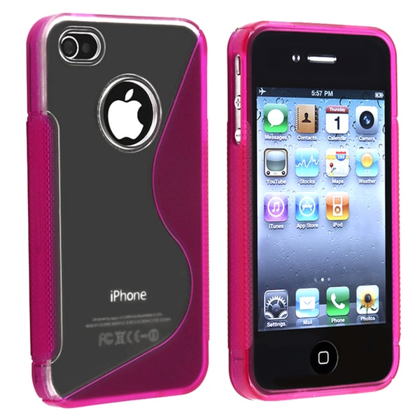 BasAcc Clear/ Hot Pink S Shape TPU Rubber Case for Apple iPhone 4/ 4S