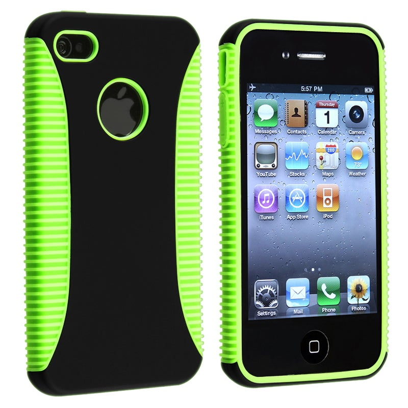 BasAcc Green TPU/ Black Plastic Hybrid Case for Apple iPhone 4/ 4S - Thumbnail 0